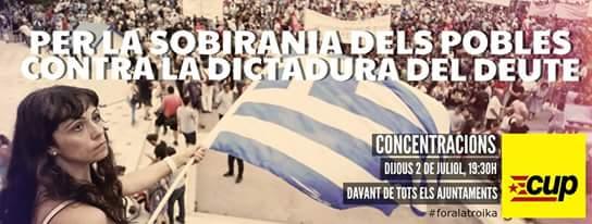 La CUP de Vilafranca convoca a una Concentració de suport al poble grec el 2 de juliol a les 19,30 hores.