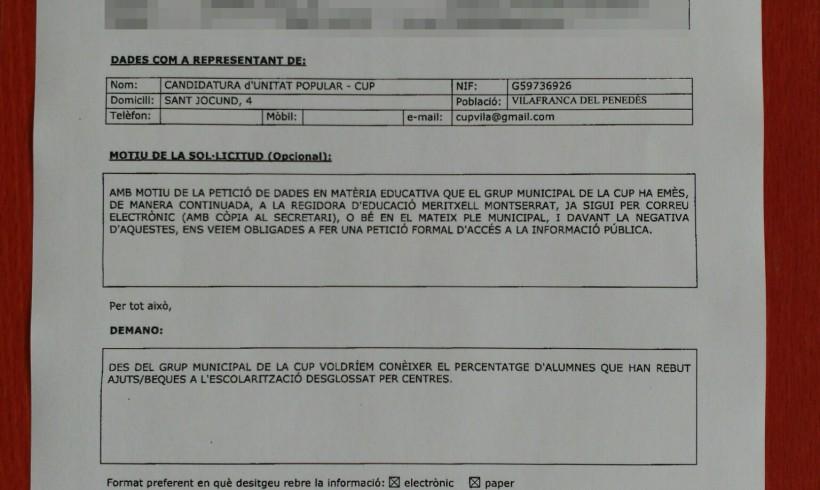 La CUP de Vilafranca denuncia l'equip de govern per manca de transparència