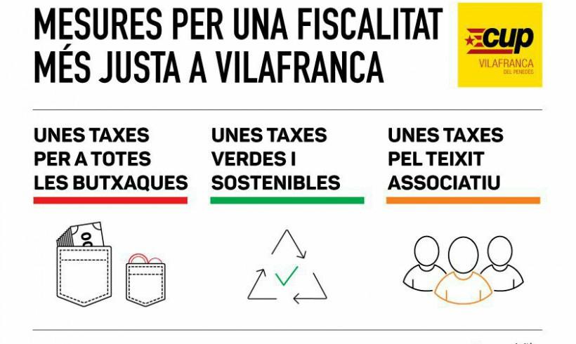 La CUP de Vilafranca presenta al·legacions a les ordenances fiscals per fer-les més justes, ambientals i solidàries