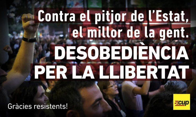 COMUNICAT   La CUP de Vilafranca agraeix el compromís de la ciutadania en la defensa del referèndum